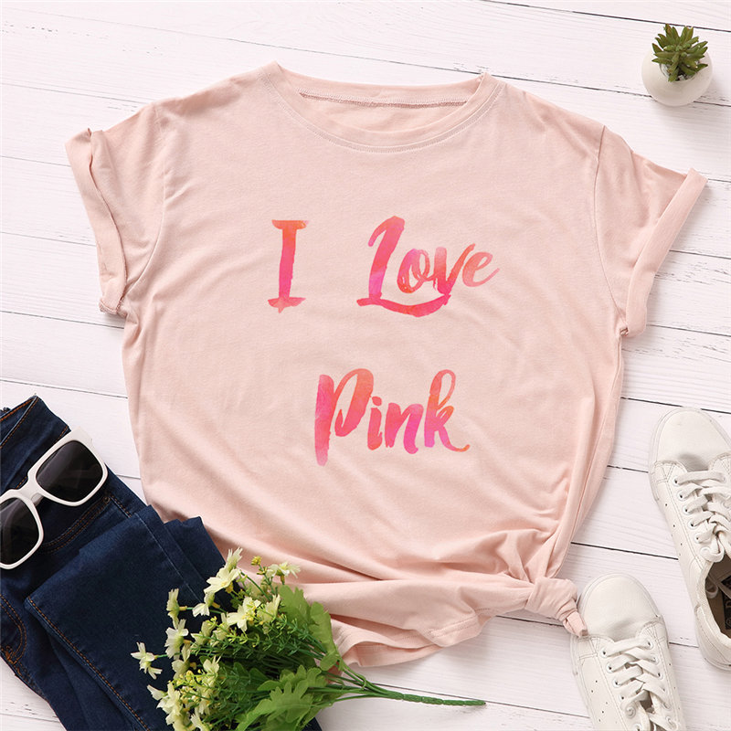 Fashion Plus Size Women T-shirt 100% I Love Pink Letters Print Funny T-Shirt Women O-Neck Short Sleeve Tshirt Tops