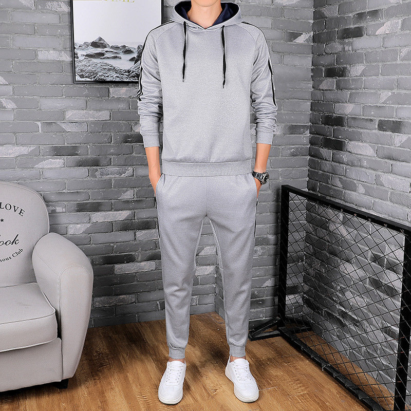 Autumn Thin Men Korean-style Handsome Hooded Leisure Sports Suit Students Pullover Hoody Business Attire