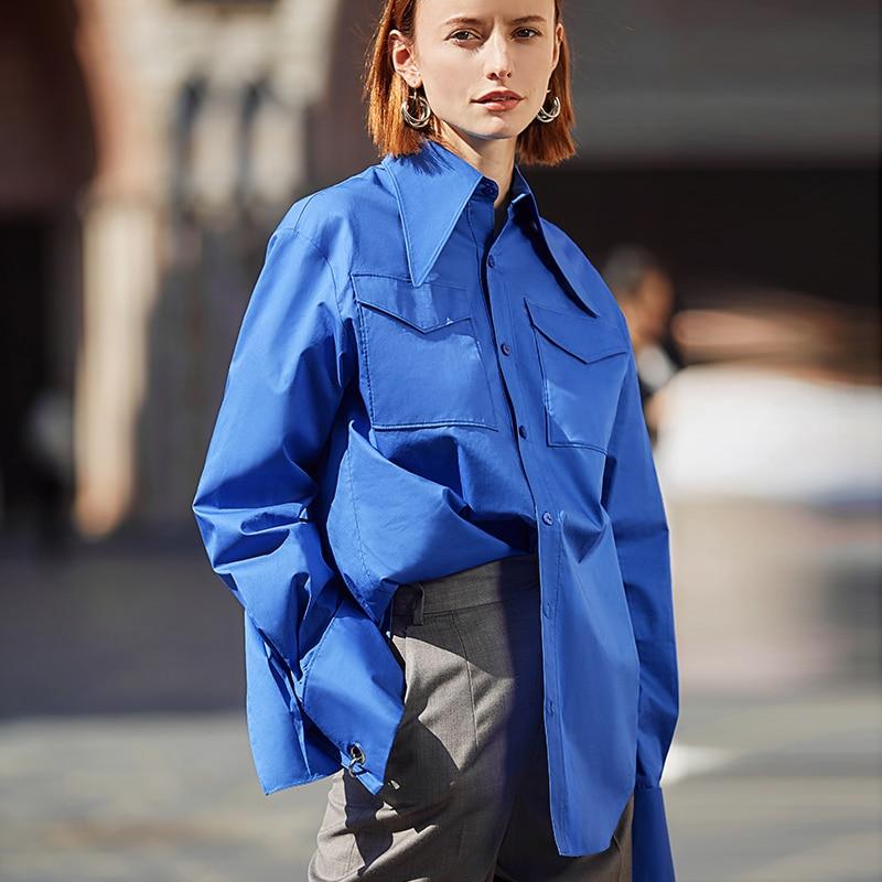 AEL kraliyet mavi gömlek kadın yaka bluz Feminina moda Safari tarzı bahar yaz üst giyim gevşek artı boyutu yeni