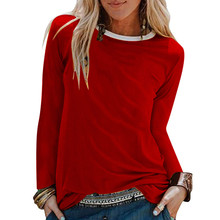 women t shirt long sleeves autumn and winter Womens Casual Solid Shirts O-Neck Long Sleeve Top Loose T-Shirt women t shirt 2019 qili women print mesh long sleeve t shirt top o neck short style loose coat summer beach casual t shirt coat for womens
