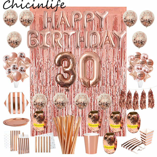 Chicinlife Globo de papel de aluminio rosa dorado, número de cumpleaños 30, caja de palomitas de paja para adulto, suministros para fiesta de cumpleaños y Aniversario