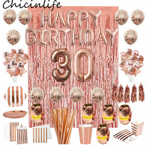 Image 1 - Chicinlife Rosegold 30th Birthday Number Foil Balloon Straw Popcorn Box Adult 30 Years Old Birthday Party Anniversary Supplies