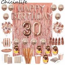 Chicinlife Rosegoud 30th Verjaardag Nummer Folie Ballon Stro Popcorn Doos Volwassen 30 Jaar Oud Verjaardag Party Anniversary Levert
