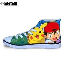 HYCOOL Пикачу Покемон карманные монстры дышащая парусиновая обувь спортивная обувь для мальчиков и девочек скейтборд обувь, детские кроссовки