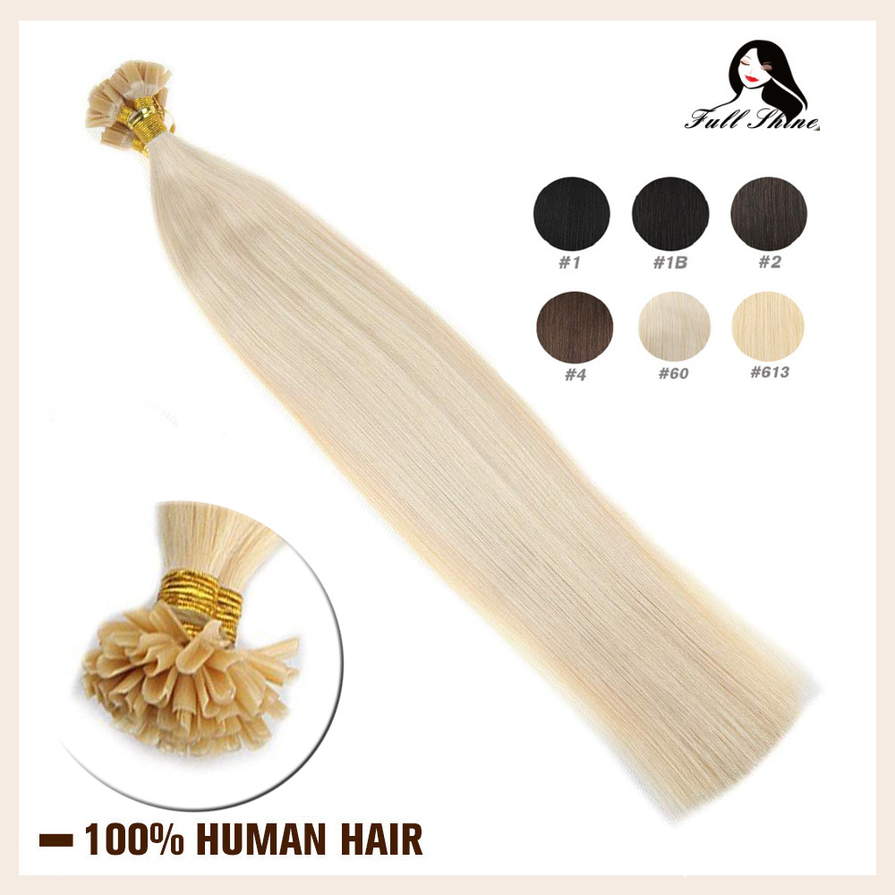 Full Shine U Tip Hair Extensions Solid Color Keartin Capsule Fusion50g Machine Remy Nail Tip Keratin Human Hair Extension
