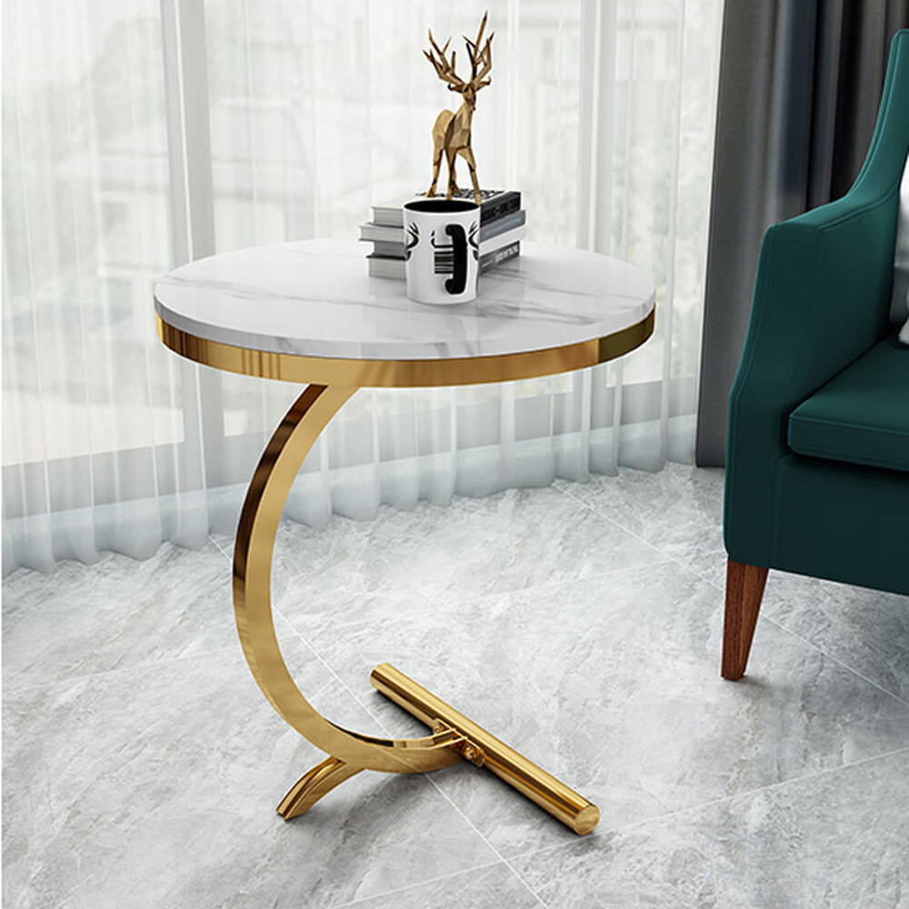 Luxury Marble Sofa Side Table Corner Table Living Room Sofa End Bedside Table Small Round Coffee Table