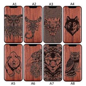 Image 2 - 3D Gesneden Hout Cartoon Beer Case Voor Oppo Vinden X2 Pro Draak Leeuw Wolf Tiger Boom Houten Carve Cover