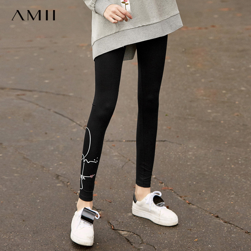 Amii Fashion Harajuku Style Printed Legging Women Spring New Causal Solid  Elastic Waist Slim Skinny Female Long Pants 11920016