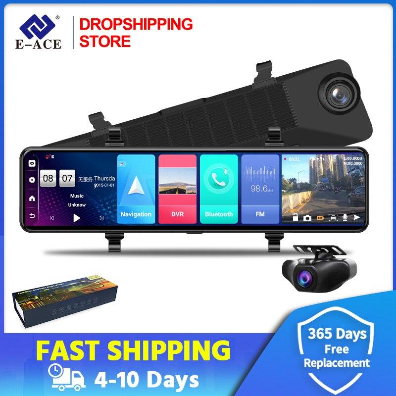 12 дюймов Автомобильный видеорегистратор 4G Android 8,1 FHD 1080P зеркало заднего вида видеорегистратор GPS навигация Даш камера