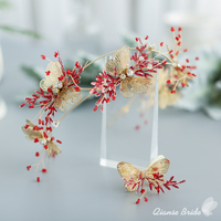 Gorgeous hairband ring butterfly women crown earring bride red flower tiara charming fascinator wedding hair accessories handie