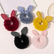 Faux Rabbit Fur Scrunchies Rabbit Ears Hair Ring Plush Bowknot Rubber Hair Band Tie Ponytail Hair Accessories Elastic Headwrap(China)