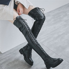 Thigh High Creepers Women Black Lace Up Strappy Over The Knee Military Boots Tall Shaft Fashion Sneakers Punk Goth Oxfords