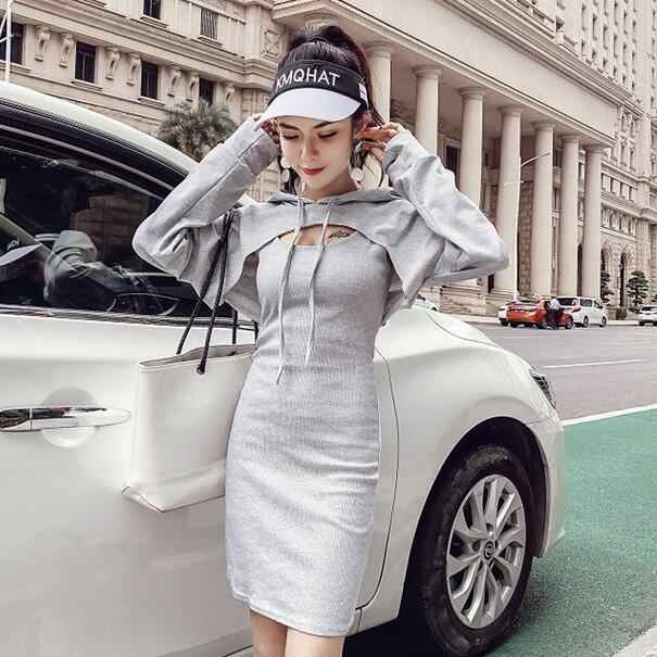 2020 Autumn robe femme Woman Dresses And Fashion Drawstring Hooded Short Cropped Tops Two Piece Sets Women Clothing DC810