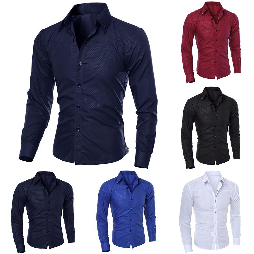 2019 New Fashion Men's Pure Color Collar Shirt Long-sleeved Slim Shirt Hot Selling Close-fitting Classic Shirt