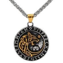 Collier Viking en acier inoxydable Yggdrasil loup Rune, avec Valknut, sac cadeau