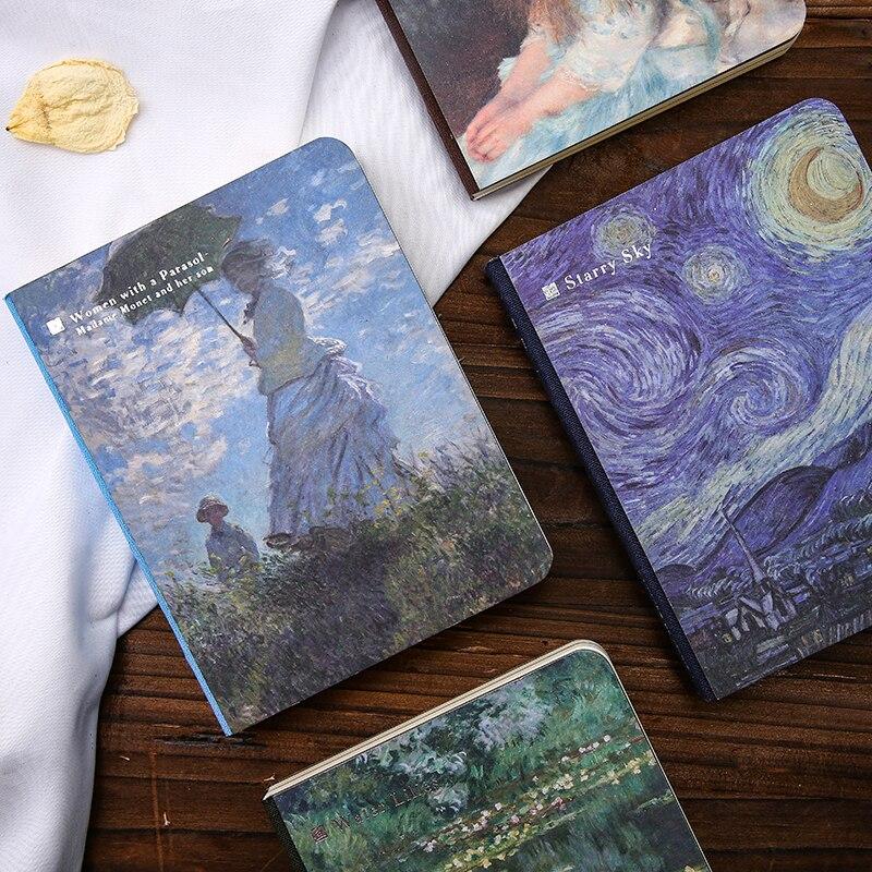 JIANWU 1PC World Famous Painting Creative Notebook Van Gogh Monet Creative Diary Bullet Journal School Supplies Kawaii
