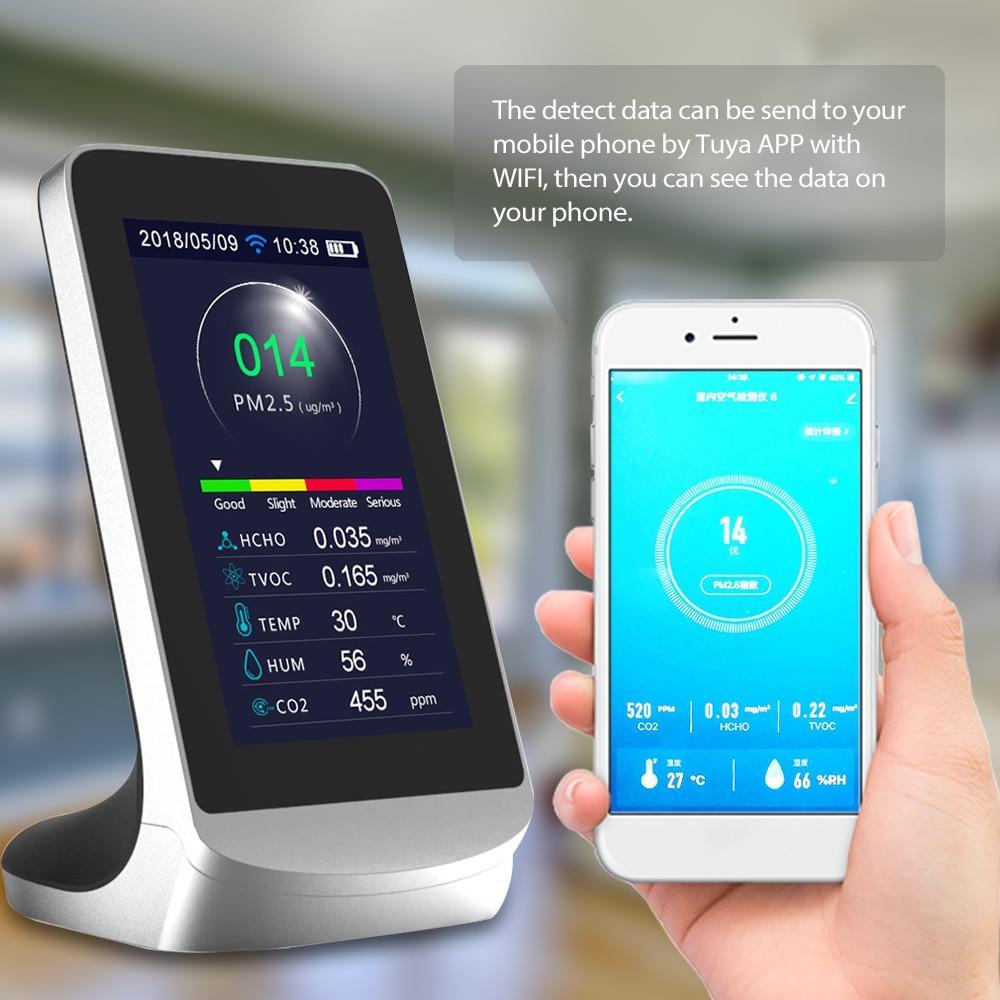 Wifi detector de qualidade do ar dióxido carbono infravermelho co2 poeira pm2.5 pm1.0 pm10 hcho tvoc detectores instrumento compatível com tuya