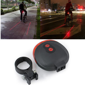 Red 2 Laser launcher with 7 Stady & Flashing modes +5 LED Flashing Lamp Tail Light Rear Cycling Bicycle Safety Warning image