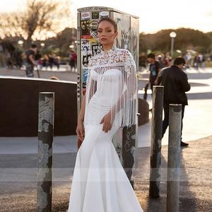 Image 5 - BAZIIINGAAA  Luxury Wedding Dress Tassel Applique Turtleneck Sleeveless Mermaid Wedding Satin Bridal Support Tailor made