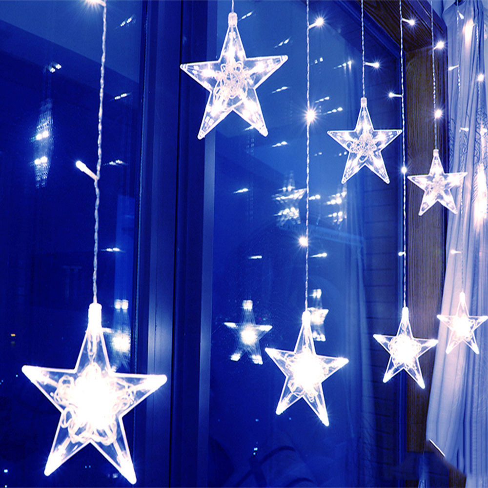 220V LED Star Curtain Lights Christmas String  Light Outdoor Garland Fairy Lamp For Holiday Wedding Party Bar New Year Decor
