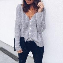 2019 camisas tejidas para mujer Sexy cuello en V botones cárdigan Otoño Invierno manga larga Casual camisetas sólidas mujer rosa blanco Streetwear