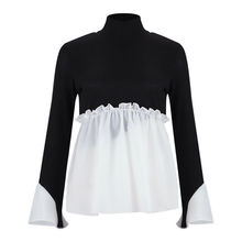 Women Autumn Long Sleeve Frill Ruffle Tops Sweater Round Neck Knitted Pullover Ladies Loose Baggy Jumper Patchwork Sweaters contrast ruffle neck and bell cuff jumper