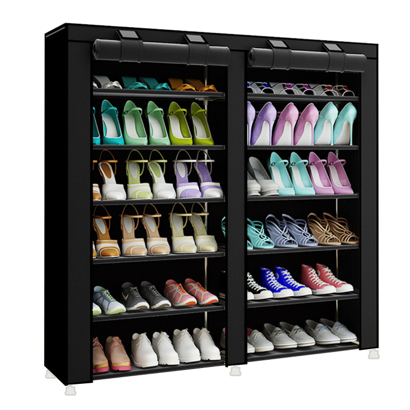 Fashion Minimalist Creative Non-woven Double-row Home Shoes Organizer Modern Shoes Cabinet Shoes Closet Multi-purpose Shoes Rack