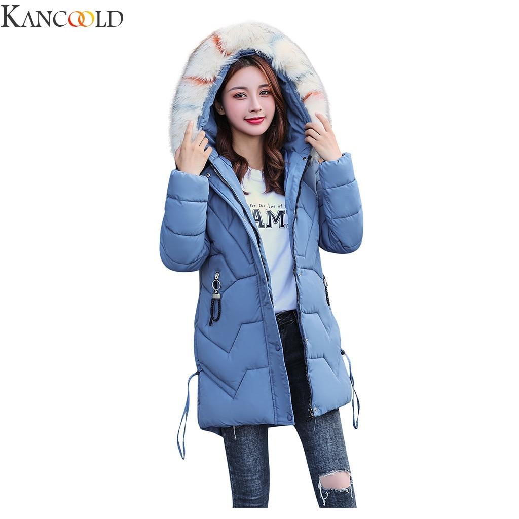 KANCOOLD Women Winter Hooded Warm Coat Slim Plus Size Five Candy Color Cotton Padded   Basic     Jacket   Female Medium-long Cloth