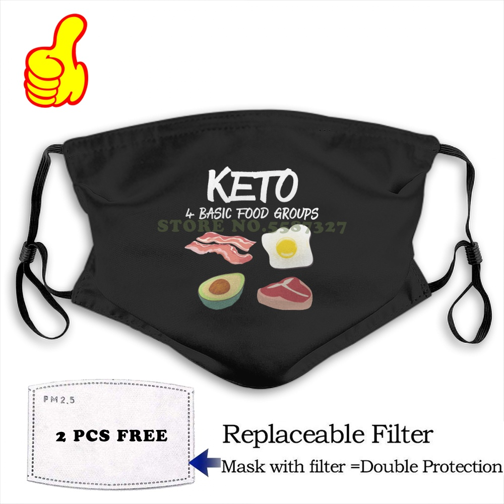 Face Mask Keto Diet Low Carb High Fat 4 Food Group Funny Gift fashion funny design black Reusable Protective Masks