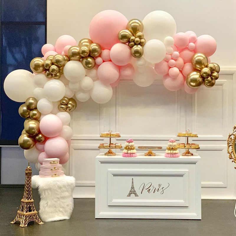 100 قطعة بالونات معكرون قوس الباستيل الأبيض الوردي بالون جارلاند الذهب معدن النثار Globos حفل زفاف ديكور استحمام الطفل الكرة MZ