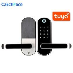 Biométrico de huellas dactilares bloqueo de la puerta Tuya APP cerradura electrónica a salvo en casa de bloqueo RFID Keykess timbre Digital Cerradura para puerta con wifi