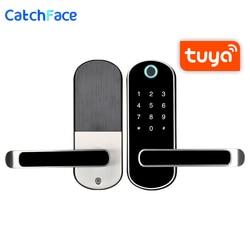 Biométrico de impressão digital fechadura da porta tuya app inteligente fechadura eletrônica segura casa bloqueio rfid keykess campainha digital wi fi fechadura da porta