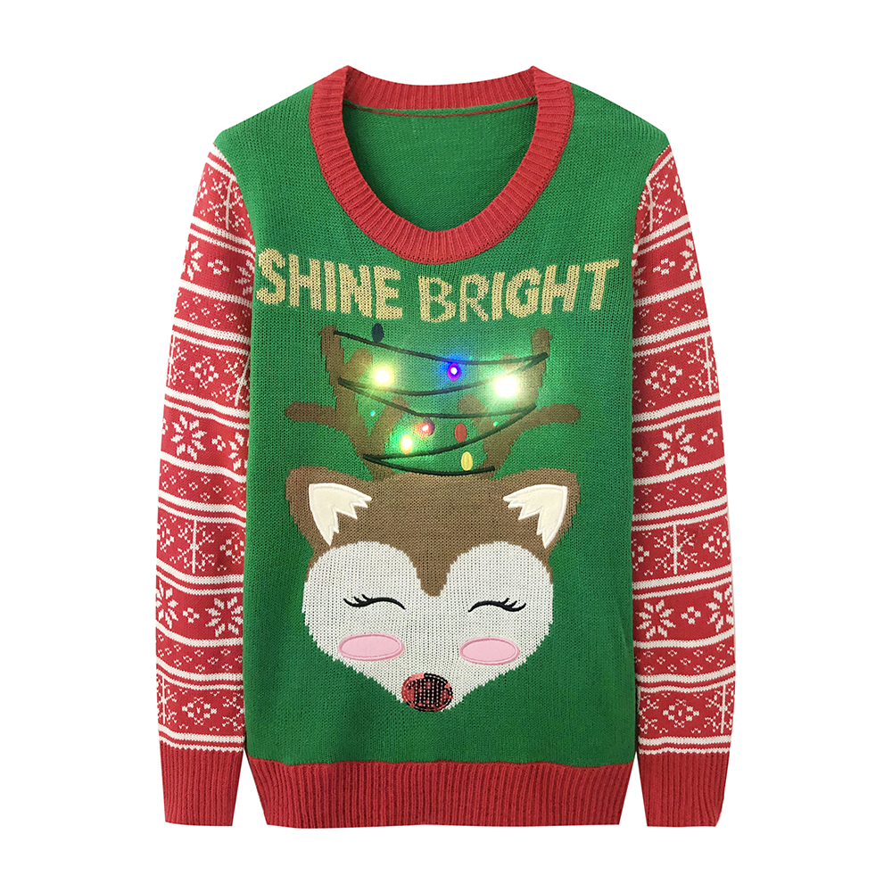 2019 Led Light Up Knitted Ugly Jumper Sweater Santa Claus Xmas Pattern Christmas Sweater Green Top Men S Womens Wear Love From Buxue 48 23