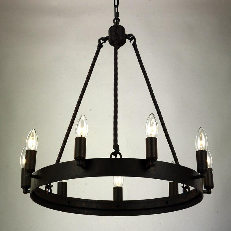 Кованая люстра освещение для гостиной спальни E14 Светодиодный винтажный домашний декор Скандинавская люстра в стиле лофт ретро черные