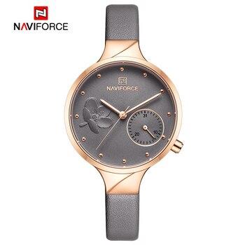 NAVIFORCE Women Watches Top Brand Luxury Fashion Female Quartz Wrist Watch Ladies Leather Waterproof Clock Girl Relogio Feminino 11