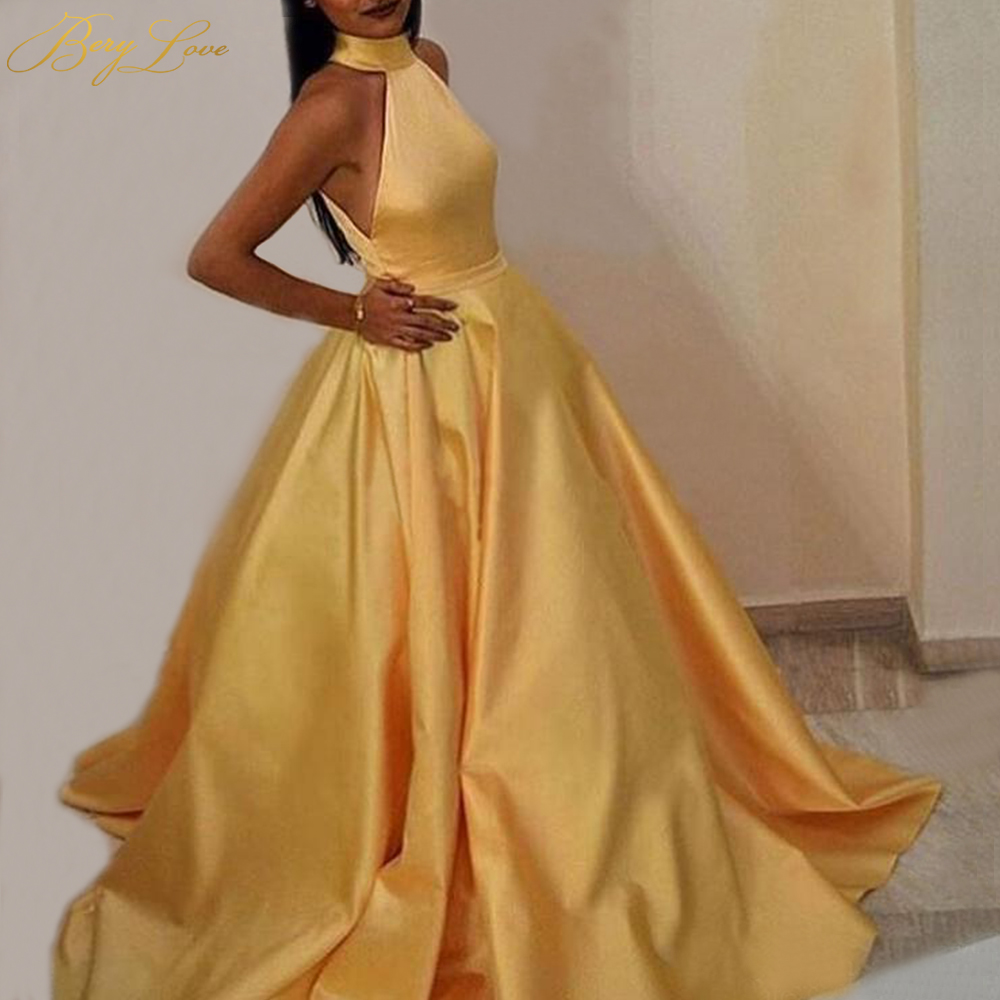 BeryLove Bright Yellow Formal Evening Dress 2020 A line Keyhole Back Side Open Evening Gown Long Prom Dresses Robe De Soire