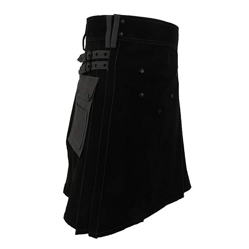 Men Fashion Scottish Skirt 2019 New Males Kilt Plaid Belt Pleated Bilateral Chain Gothic Punk Tartan Skirt Casual Festival Skirt