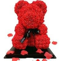 Oso de peluche rosa roja Artificial para mujer, rosa roja, decoración del Día de San Valentín, 35cm, 25cm, regalos de Navidad, regalo de San Valentín