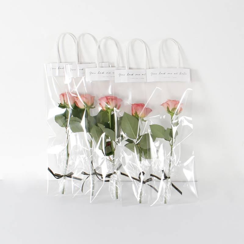 10pcs/Lot  Flower Bouquet Bagging Portable Transparent Gift Bag Decoration Long Tote PVC Clear