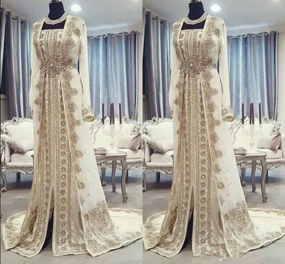 Moroccan Caftan Kaftan Evening Dresses Dubai Abaya Arabic Long Sleeves Amazing Gold Embroidery Square-Neck Occasion Prom Formal