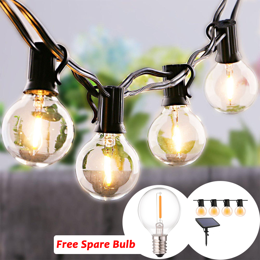 10/25LED Solar Light Outdoor Fairy LED String Light Clear Bulbs Waterproof Decorative Holiday Party Wedding Patio Garden Light