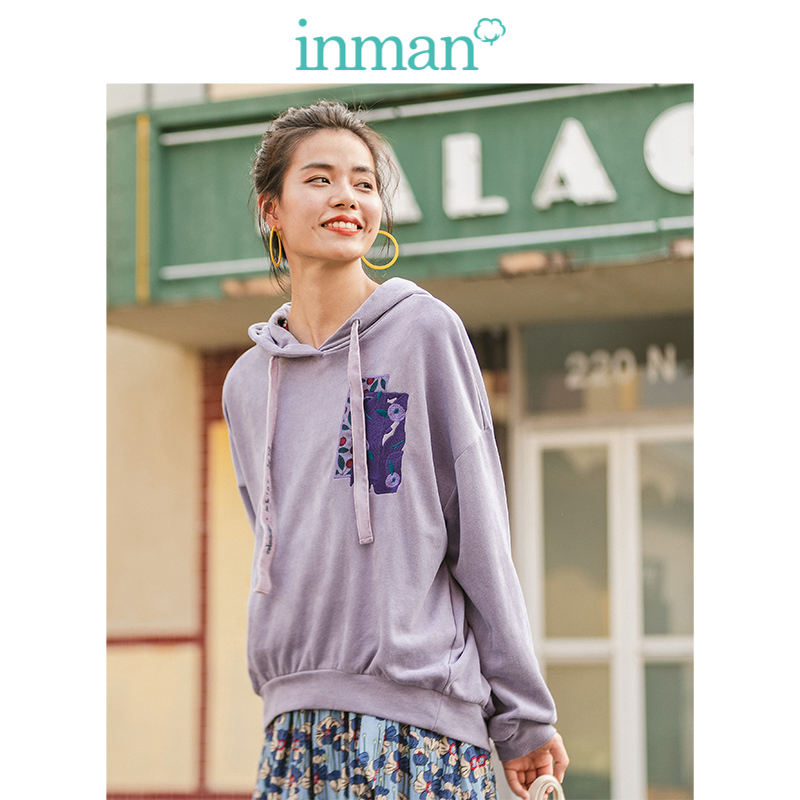 INMAN Winter Fashion Loose All Matched Print Drop-shoulder Sleeve Light Purple Women Hoodies