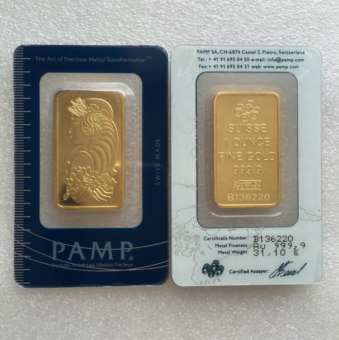 10pcs 1 Ounce Suisse Pamp Gold Plated Bars In The Blister Packs With Different Serial Numbers