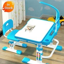 Pengiriman Normal Multifungsi Belajar Anak Anak-anak Pekerjaan Rumah Ergonomis Mahasiswa Adjustable Meja dan Kursi Kombinasi Desktop