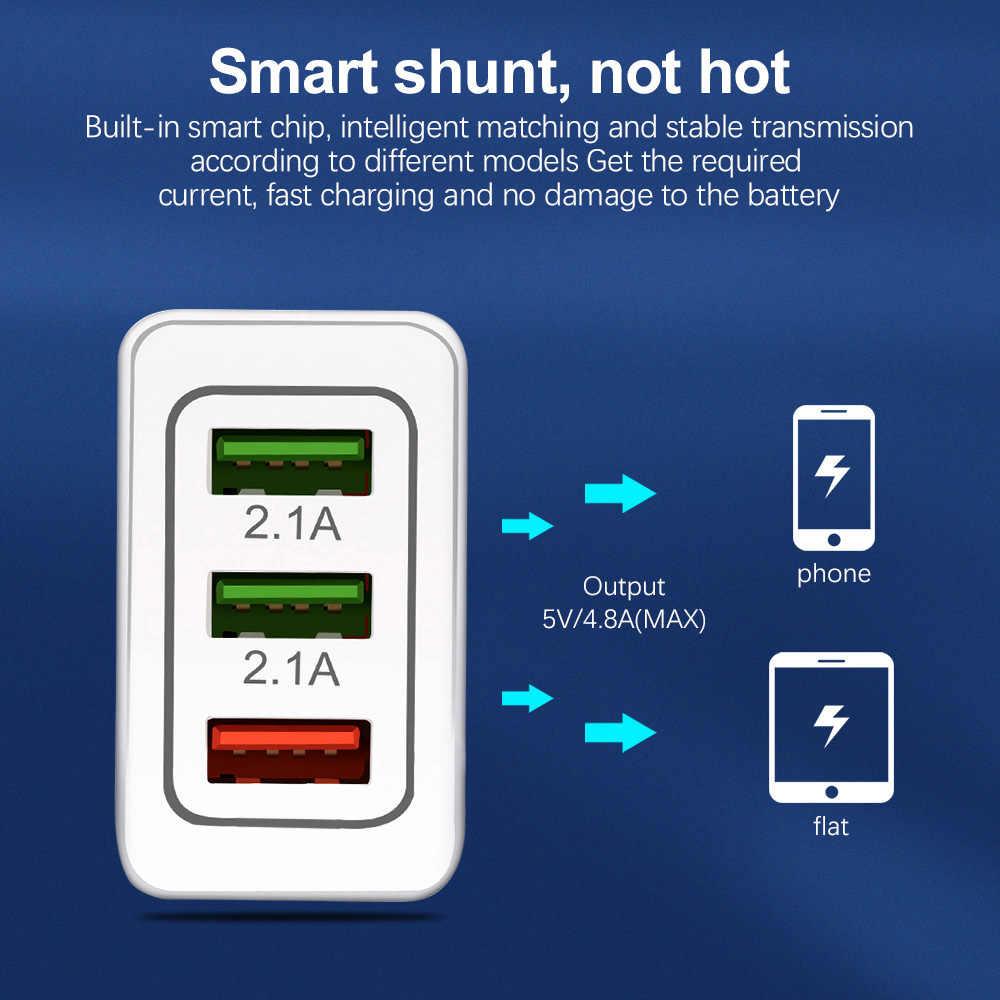 CONTROLLO di QUALITÀ 3.0 caricatore USB 3 porte 5V3A UE Spina DEGLI STATI UNITI Adattatore traverl della parete di ricarica rapida 3.0 per iPhone Samsung Xiaomi caricatore Del Telefono Mobile