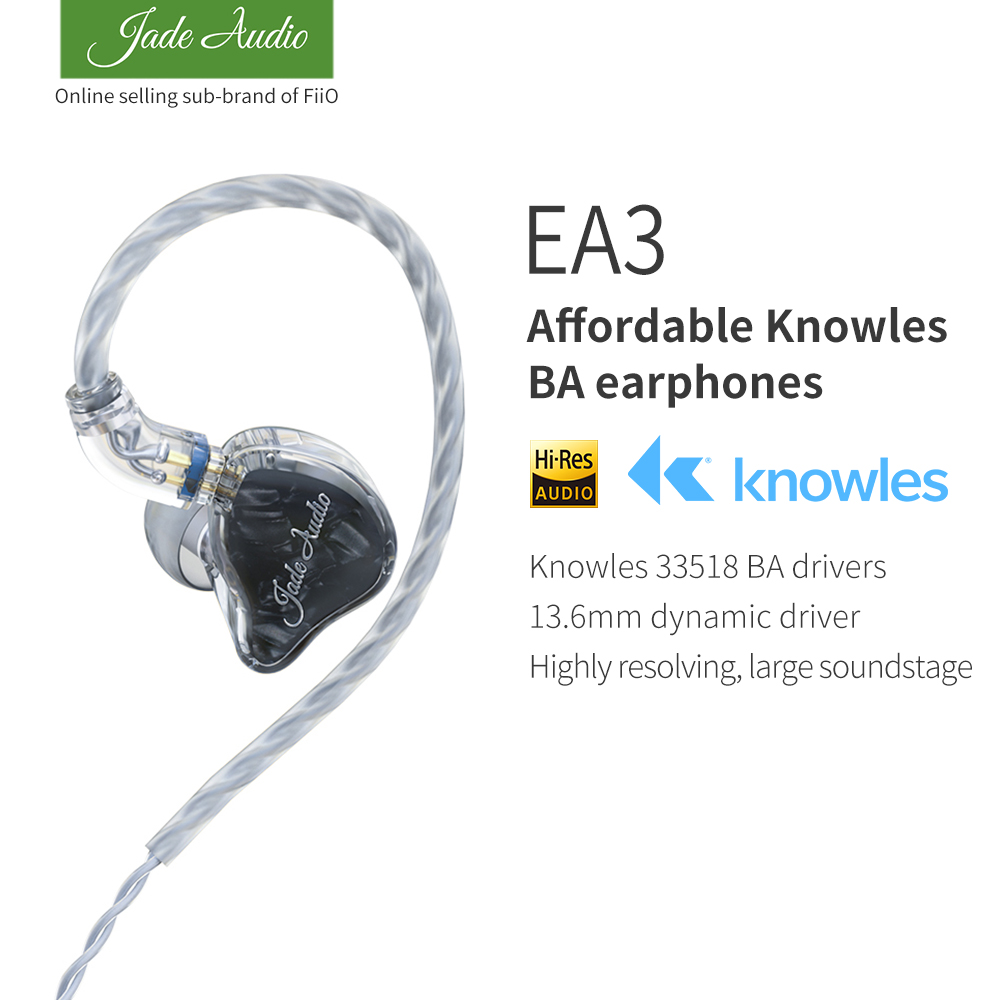 JadeAudio(FiiO) EA3 HiFi Stereo 1BA(Knowles)+1Dynamic Hybrid Earphone IEM With 0.78 2pins Detachable Cables With Deep Bass