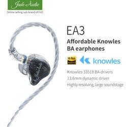 Jadeaudio (Fiio) EA3 Hifi Stereo 1BA (Knowles) + 1 Dynamische Hybrid Oortelefoon Iem Met 0.78 2 Pins Afneembare Kabels Met Diepe Bas