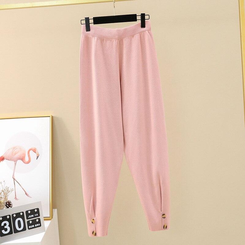 Осенние женские повседневные штаны-шаровары, свободные брюки для женщин, зимние теплые толстые вязаные штаны-свитера, женские брюки редис - Цвет: pink