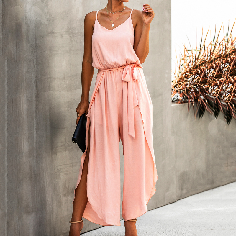 Hot Summer Style jumpsuits for women bodysuit 2020 Summer V-neck Strap Wide Leg Side Slit Women's Siamese overalls Office Lady