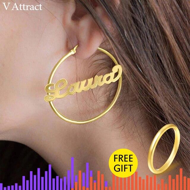 V Gewinnen Edelstahl Bezaubern Jeden Personalisierte Name Ohrringe für Frauen Boho Stil Handgemachte Kundenspezifische Schmuck Maßgeschneiderte Brincos